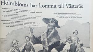 Nyöppnat. Denna annons från Holmbloms är från 1965 och lockar bland annat med tweed till hösten.