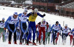 Masstart. 121 åkare drog iväg i fredags på Lugnets skidstadion. Jörgen Brink, Umeå, i gul nummerlapp som ledare i Intersport cup, blev tvåa efter de tre milens åkning.