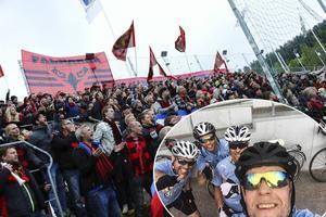 ÖFK-fansen möter upp de tre MFF-supportrarna som cyklar från Malmö till Östersund för att se Malmö mot ÖFK på lördag. MFF-supportrarna Daniel Håkansson, Michael Nilsson Pauli och Kristoffer Hernemyr på lilla bilden.