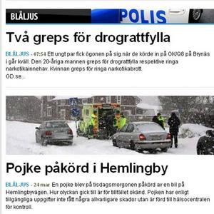 Så såg det ut på Gefle Dagblads webb på onsdagen.