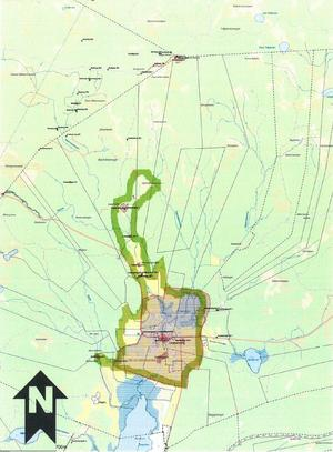Det nya utvidgade riksintresseområdet. Det gamla är markerat i rött. Länsstyrelsen Västmanland ska putsa gränserna för riksintresset, det som på kartan är en tjock grön linje. Foto: Riksantikvarieämbetet