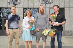 Från vänster Mikael Vilbaste, Anne-Marie Pettersson, Kristofer Franzén och Christer Söderqvist. Foto: Jenny Bergström/Väserås stad