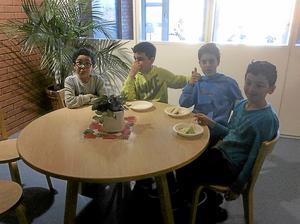 Tårtkalas. Ahmed, Taisir, Gabril och Daneil firar bloggen. Foto: Privat
