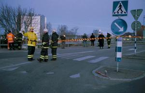 Avspärrningar efter gasololyckan i Borlänge.