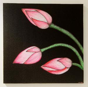 Uppkäftiga blommor i hårt uppdrivna färger finns det gott om på Gustav Retslers målningar i akryl och tusch som nu visas på Lars Bolin Gallery.