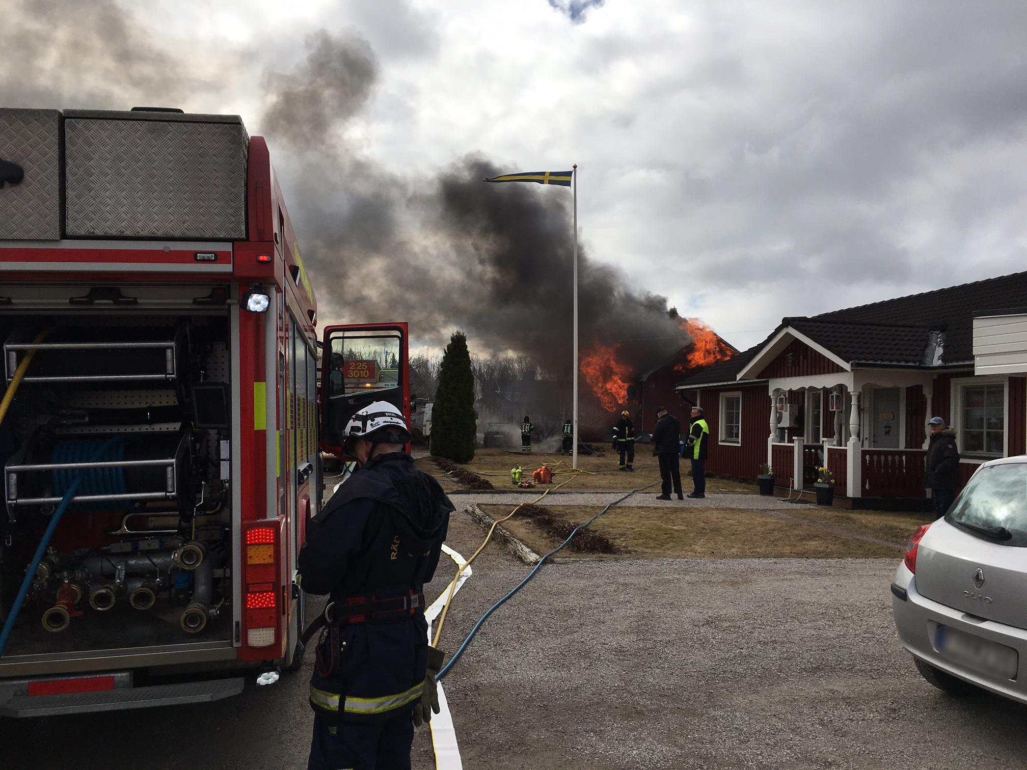 En person skadad vid brand