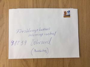 I det här kuvertet försökte Johanna Möller posta ett brev till sin dotter.