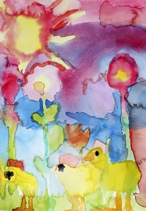 """Tvåa i åldersklassen 7-10 år: Milla Woxlägd, 8 år, Gåije.         JURYNS MOTIVERING: """"Ljusa och klara färger som tillsammans bildar en färgexplosion. Man får en fri känsla av Millas kycklingar målade vått i vått. Kraftfull!"""""""