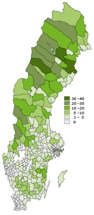Kartan visar tydligt att det är i Norrland och Värmland de flesta som bor ensligt lever. I Västernorrland gäller det framförallt i Sollefteå och Örnsköldsviks västra delar.