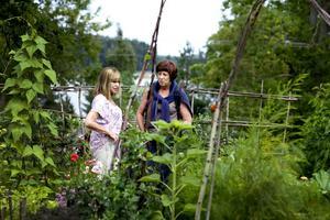 Anna-Lena Johard Kåberg till vänster i bild samspråkar med väninnan Ulla Ericsson i kökstrådgården, som bjuder på en magnifik utsikt över havet. Anna-Lena berättar att hon just har köpt en kolonilott i Södra kolonin i Gävle och därför tänker de ta sig en titt även där under uppvisardagen Tusen Trädgårdar som var i går.