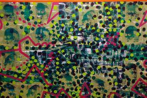 Både Kåre och Kajsa-Tuva visar ett måleri med kraft och mod där färgen lever liksom ett eget liv med sina egna mönster.