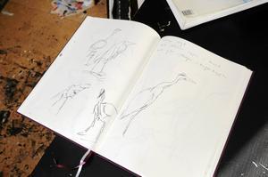 Fågelmötena tecknar Mats ner snabbt i sin skissbok, med en liten text till.