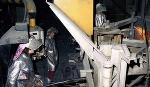 Ett foto som visar delar av produktionen inne i stålverket som sedan såldes till Nordkorea.