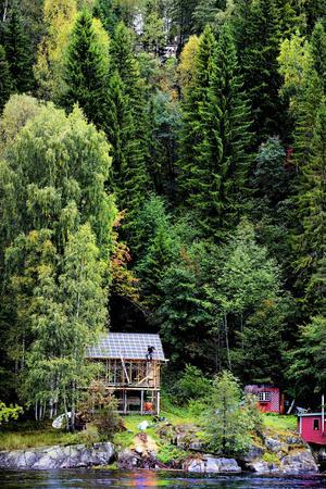 Berget och träden tornar upp sig vackert, men nästan hotfullt, ovanför det nya huset