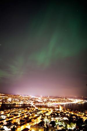 Norrsken sett från Frösö utsiktspunkt.