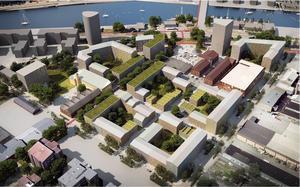 Illustration över bostadsrområdet Godisfabriken. Foto: Nyréns arkitekter