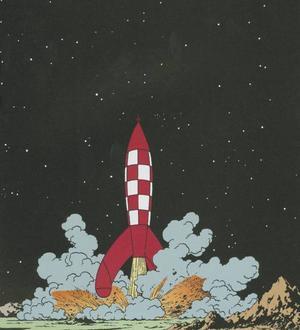 """""""Månen tur och retur"""" del 1 och 2. Tintin, Haddock, Kalkyl och Dupondtarna besökte månen nästan tjugo år före Neil Armstrong."""