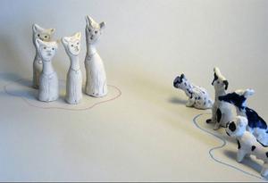 """""""Vi och dom"""", skulpturer av Annika Persson.Foto: Catarina Lundström"""