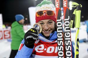 Segertjejen Dorothea WIerer, Italien. Hon sköt fullt och vann.