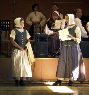 Lisa Hägglund berättade om Rustorpskläderna som Marianne Jönsson och damerna i Hörkens bygdedansare bar.FOTO: PRIVAT
