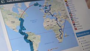 Carlos kartlägger sin resa, den vänstra delen av kartan är den avklarade sträckan.