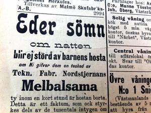 Annons ur VLT år 1912.