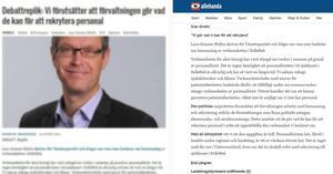 Den vänstra bilden är en kopia från den anonyma nyhetssidan och den högra är den replik som finns publicerad på allehanda.se. Texterna är identiska.