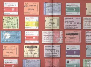 Biobesökarnas historia. Alla tiders biljetter avbildas på bokpärmens insida.