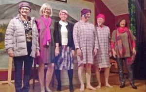 Här är mannekängerna på PRO Hede-Vemdalens möte, Britt Sundgren, Birgitta Westergren, Evy Olsson, Ronny Nyberg, Alf Östberg och Lilian Tjärnås.