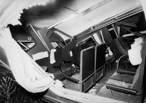 Så här såg snälltåget ut efter kollisionen 1972.