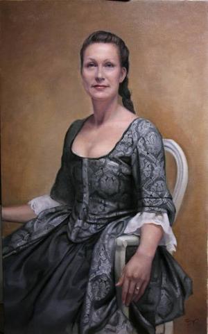 ADELSDAM. Ulrica Wejåker avporträtterad som 1700-talsdam i fina kläder.
