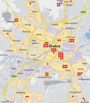 65 av sammanlagt 112 medarbetare på NA-redaktionen bor i Örebro. Här ser du var.