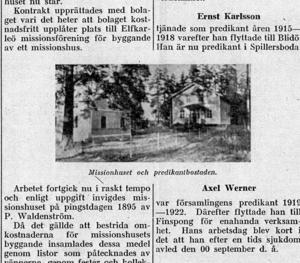 FÖRR. Utklipp från en tidningsartikel från 1927. Missionshuset och predikantbostaden på den tiden.