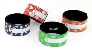 Hos Loppanochpiraten.se finns dessa band med slap and wrap-funktion. Dessa är lite mer barnvänliga i utformningen men finns också i vanligt varselfärg, och då ofta riktigt billiga, på många olika ställen.