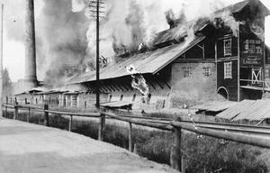 Gamla tegelbruket brinner 1923.