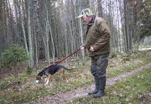 Finnstövaren Rita letar gärna upp spår efter hare och Bror Löjdström föredrar numera den jakten.