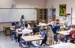 Eleverna i Marie Jonssons klasser byter platser ett par gånger under varje termin.