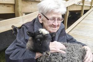 Agda Svensson, 96 år gammal, med lammet Jocke i famnen.
