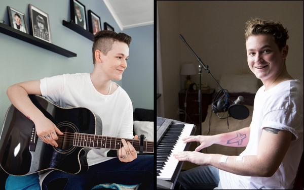Bilden till vänster är tagen sommaren 2015 till ett reportage i Sundsvalls Tidning. Bilden till höger är nutid och här spelar Liam upp sin senaste låt You and I.