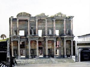 Ett halvt års måleri ligger bakom Karl-Otto Myrstads målning av ett raserat romerskt bibliotek i Turkiet hos Bolin.