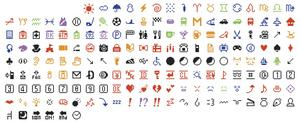 De första emojierna för mobiltelefoner från 1999, donerade till Modern museum of art i New York av det japanska mobilföretaget NTT Docomo i oktober i år.   Foto: Shigetaka Kurita