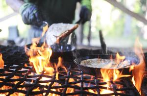 På visfestival i skogsmiljö är det kolbullar på menyn.