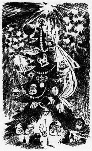 Tove Jansson låter mumintrollen göra allt rätt åt små knytt. Muminfamiljen har blivit väckt av en stressad hemul. I vanliga fall sover de vintertid.Foto: Från Alfabeta förlag