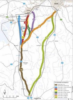 Kartan visar de sju ursprungliga vägalternativen. 5 och 7 är de som är aktuella för beslut.