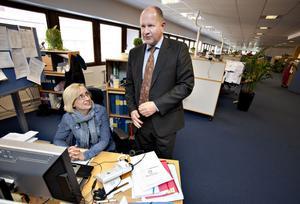 Caroline Tröjbom på Försäkringskassans kundcenter i Gävle fick en pratstund med Försäkringskassans generaldirektör Dan Eliasson.