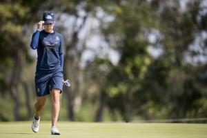 Pernilla Lindberg under den andra rundan i OS-golfen.