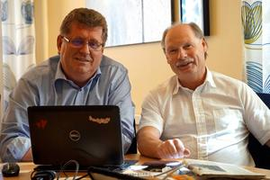 Jan Bohman och Kenneth Persson gläds åt att utbetalningen av försörjningsstöd minskar. De ser satsningen på nystartsjobb som lyckad.