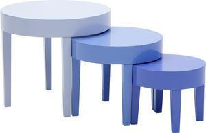Rätt nivå. Soffbord i sats, tre blå nyanser, 1699 kronor på Ilva.se.
