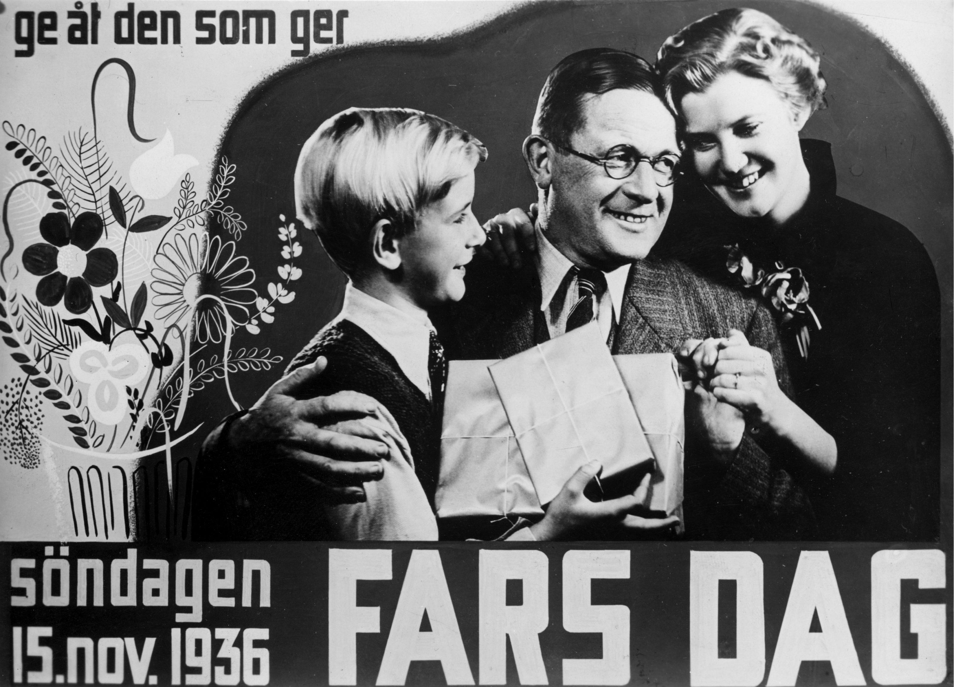 En avfotograferad affisch från 1936 som gör reklam för fars dag. Bild: TT