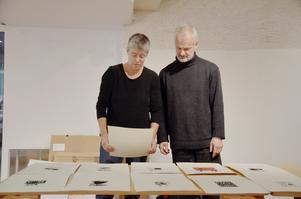 Balans. Mirjam Lidén får hjälp av maken Tage Pettersson att planer hur hennes grafik ska hängas upp på utställningen i Lindesberg.